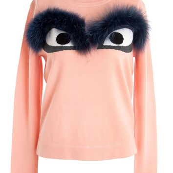 Fendi Wool and Fox Fur Bug Eye Sweater