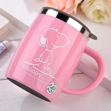 420mL Insulated Snoopy Tumbler Mug (with lid)