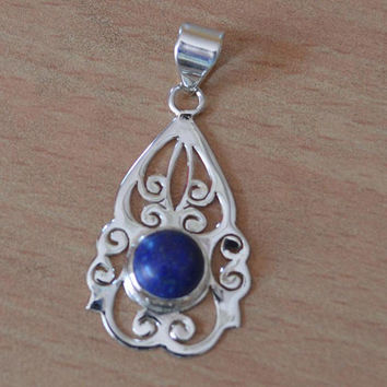 Lapis Lazuli Pendant,Blue Lapis Lazuli,Gemstone Pendant,Boho Jewelry,Boho gift,925 Sterling Silver Pendant September birthstone Necklace NEW
