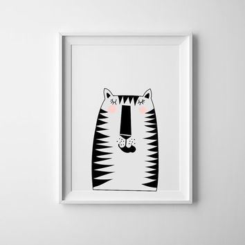 tiger nursery print, nursery wall art, scandinavian, minimalist nursery decor, nursery wall art ,baby boys, baby girls, nursery decor