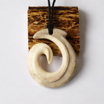 Koru pendant, Fern necklace, Antler jewelry, Spiral necklace, Spiral jewelry, Antler necklace, Antler pendant, Bone necklace, Maori Koru