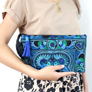 Blue Wristlet Clutch Suede Leather Zipper Pull HMONG Embroidered Bag Handmade Fair Trade Thailand (BG4250CH-P7D69)