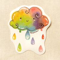 Cute Rainbow Cloud 3 Inch Sticker: Kawaii Watercolor Rainbow Illustration, Bookmark, Laptop Stickers, Water-resistant Sticker, Decals