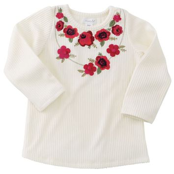 Cream Floral Embroidered Tee