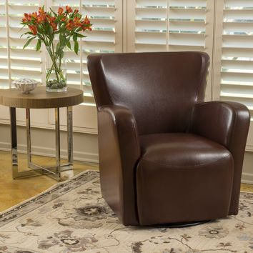 Almendro Bonded Leather Wingback Swivel Club Chair