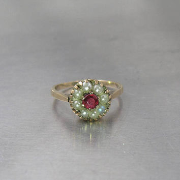 Antique Ruby Pearl Ring,  Ruby Spinel Seed Pearl Flower Halo Ring. 10K Rose Gold. July Birthstone Jewelry