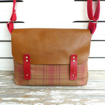 Plaid Messenger Bag for School  Cotton Single Strap Shoulder bag / Cross Body Messenger  / School / Travel / Laptop bag