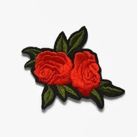 Rose Patch - Iron On Patch Red - Jacket Patch Floral Patches Rose Embroidered Patch Red Rose Fabric Flower Applique Embroidery Patch
