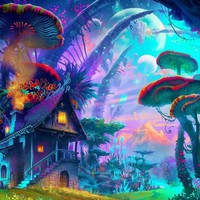 """Psychedelic Trippy Art Fabric poster 43"""" x 24"""" 24"""" x 13"""" Decor--073"""