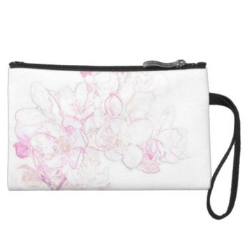 Pink Roses Suaded Mini Clutch Wristlet Purse