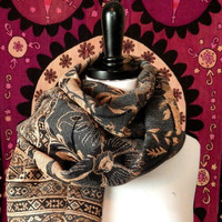 Gray Floral Pashmina Infinity Scarf