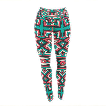 "Pom Graphic Design ""Ethnic Floral Mosaic"" Teal Red Yoga Leggings"