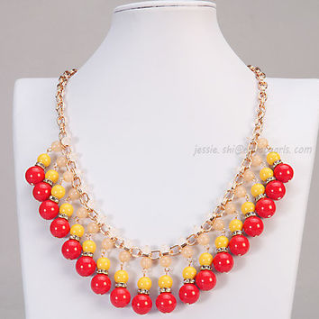 Yellow and Red Statement Necklace,Bib Necklace,  Bubble Necklace, (FN0628-Yellow and Red )
