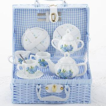 Children's Porcelain Tea Set in Wicker Style Basket - Hydrangea - FREE TEA INCLUDED!