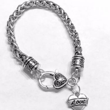 Love Heart Valentine Gift Wife Daughter Mom Charm Bracelet