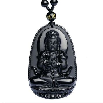 ac spbest High Quality  Natural Black Obsidian Carved Buddha Lucky Amulet Pendant Necklace For Women Men pendants Fashion Jewelry 48*32mm