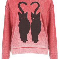 Twin Cat Burnout Sweat - Jersey Tops - Clothing - Topshop USA
