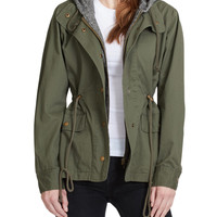 LE3NO Womens Lightweight Military Anorak Safari Jacket with Hoodie
