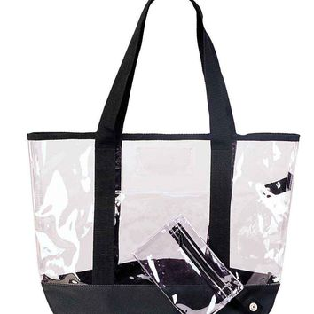 "DALIX 20"" Clear Handbag Shopping Tote with Small Bonus Pouch (Transparent)"