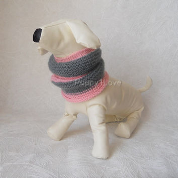 Dog Neck Warmer for  Medium Dog Hand Knitted READY TO SHIP  Pink Gray  Snood  Mohair Scarf for dog