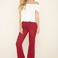 Perforated Zigzag Flare Pants