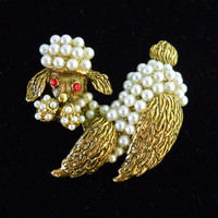Gold Tone Poodle Dog Brooch, Seed Glass Pearls, Red Rhinestones, Vintage