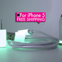 UPDATED Glow in the dark iphone 5 charger with wall and car charger