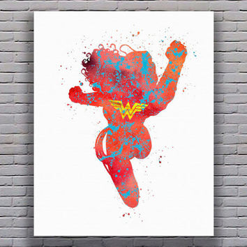Wonder Woman Superhero Flying Watercolor Art Print Instant Download