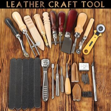 20pcs/set Leather Craft Stitching Carving Working Hand Sewing Saddle Groover Punch Tools