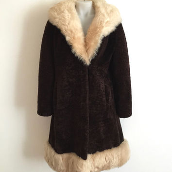 Vintage 1960s/1970s 'David Jones' chocolate shearling coat with golden blonde collar and hem