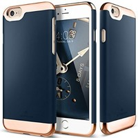 iPhone 6S Case, Caseology [Savoy Series] Slim Two-Piece Slider [Navy Blue] [Chrome Rose Gold] for Apple iPhone 6S