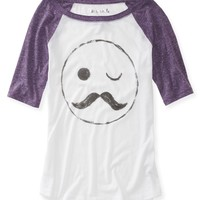 Mr. Stache Raglan Graphic T - Aeropostale