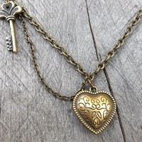 Steampunk Reversible Antiqued Brass Oblique Heart and Key Necklace with Double Drop Cable Link Chain