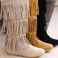 Womens Fringe Moccasin Knee High Flat Boots Faux Suede Zipper Round Toe New