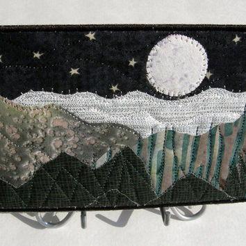 Fabric Postcard Mountain Landscape Quilted Greeting Card Postcard Postcard Art Fiber Art Stars and Moon Romantic Evening