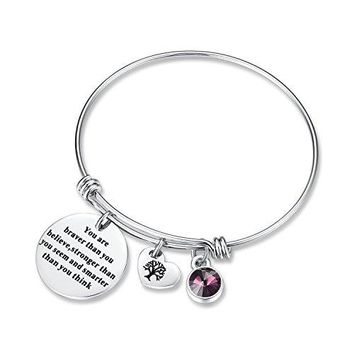 AUGUAU You Are Braver Than You Believe Think Birthday Gifts Bracelet with Birthstone & Heart Tree of Life