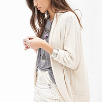 FOREVER 21 Textured Shawl Collar Cardigan Cream