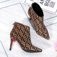 Fendi Women Fashion New More Letter Print Pointed High Heels Shoes Boots Brown