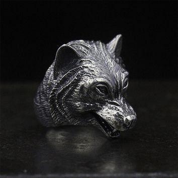MetJakt Punk Cool Men's Ring & Ferocious Wolf Head Ring Solid S925 Sterling Silver Ring for Men Unique Thai Silver Jewelry