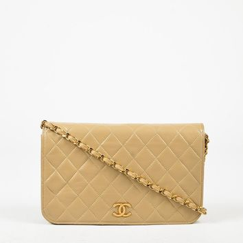 Chanel Beige Quilted Calfskin Leather Gold Tone 'CC' Chain Link Shoulder Bag