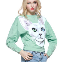 Green Cat Print Sweatshirt
