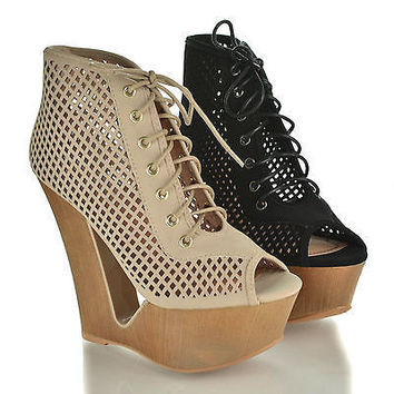 Laura05 Nude By Bamboo, Peep Toe Lace Up Cut Out Design Platform High Wedge Bootie Sandal