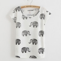Lovely Elephant Cartoon Printed T-Shirt