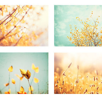 Photography Set - Four 5x7 Photographs - yellow mint green teal - turquoise print set - pastel pale nature photography - botanical wall art