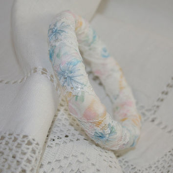 Textile Bangle - Blue Daisies embroidered on a soft pastel fabric and lace hand made bangle
