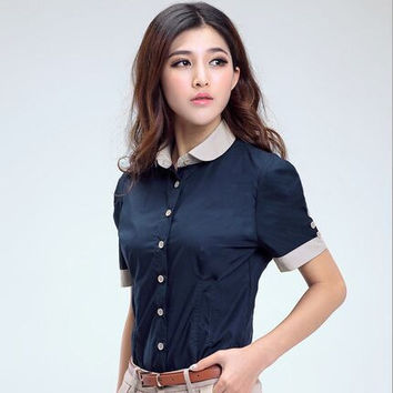 new fashion 2015 women formal business shirts casual puff sleeve summer style plus size patchwork blouse peter pan collar blusas