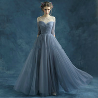 Half Sleeve Prom Dress,Prom Dresses,Long Evening Dress