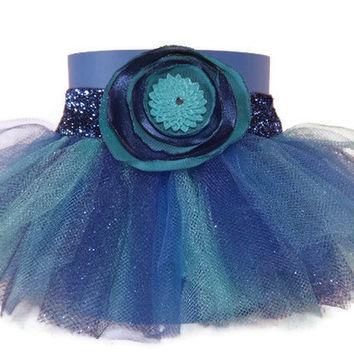 Blue Tutu Koozie with Light and Dark Blue Tutu and Satin Flower Accent