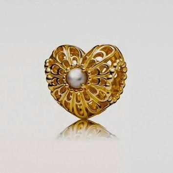 Authentic Pandora 14kt Gold Vintage Heart With Pearl Bead