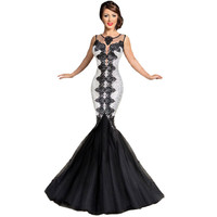 Sleeveless Hollow Out Lace Mermaid Dress Ball Gown Prom Dress [6514359879]